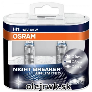 H1 OSRAM Night Breaker Unlimited 12V 55W + 110% Box 2ks