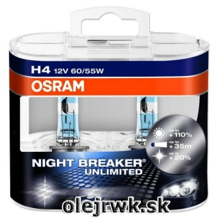 H4 OSRAM Night Breaker Unlimited 12V 60/55W + 110% Box 2ks