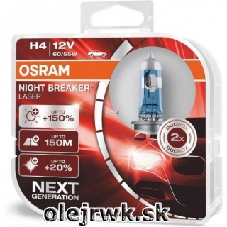 H4 OSRAM Night Breaker Laser 12V 60/55W + 150% Box 2ks